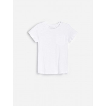 Reserved белая хлопковая футболка с кармашком. Размеры: 110,116,122