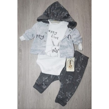Велюровый костюм Babyim (Турция), из трёх предметов. Цвет серый. Размеры: 0-3,3-6,6-9 мес