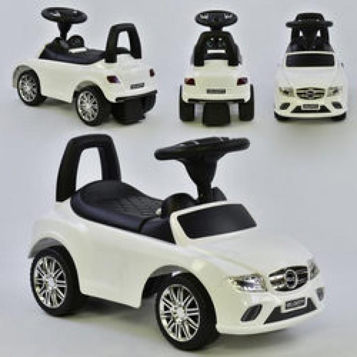 Машина-толокар Joy 0088, цвет белый. Музыкальный руль, 2 песни, русское озвучивание, багажник. В коробке