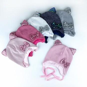 Демисезонная шапочка «Аннет» на хлопковой подкладке, объём 44-46