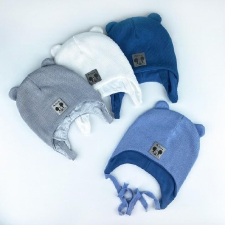 Демисезонная шапка на хлопковой подкладке «Пайк», объём 46-48 см. Цвет серый, джинс