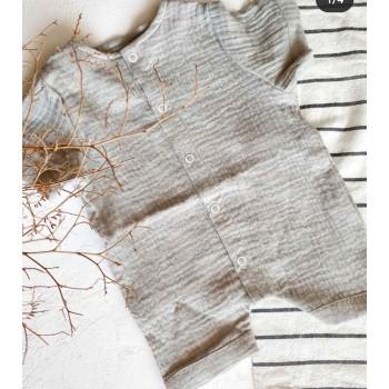 Ромпер муслиновый, размеры 74, 80. Цвет серый