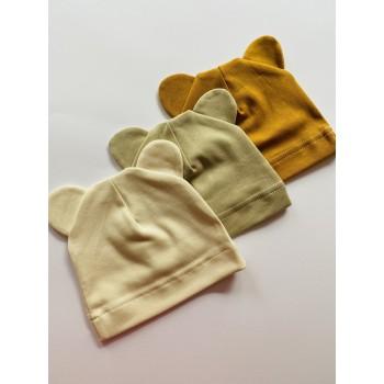 Трикотажные шапочки для малышей, размер 62(0-3 мес), модель «Мишка»