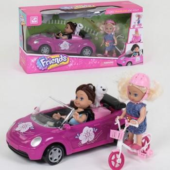 Кукла с машинкой К 899-75(36/2) в наборе 2 куклы с аксессуарами. В коробке
