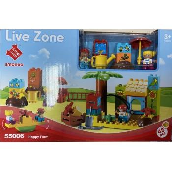 Конструктор 55006 дом, Детская площадка, фигурки, 48 деталей. Коробка 38*26*10 см