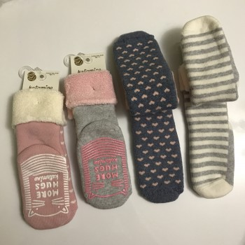 Махровые носки с антискользящей подошвой, размер 3/4 года