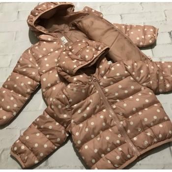 Демисезонные куртки для девочек, пудровые в горох. Размеры:74;80;86