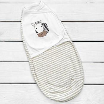 Хлопковая пеленка-кокон на липучке, модель 946 «Зебра»