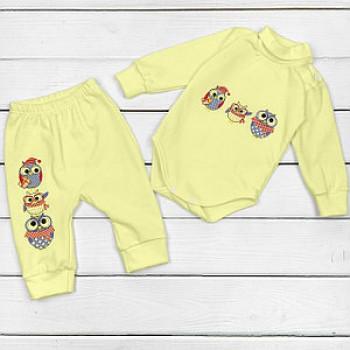 """Набор утеплённый """"Совы»,состоит из боди и штанишек. Цвет желтый. Размеры: 68;80;86"""