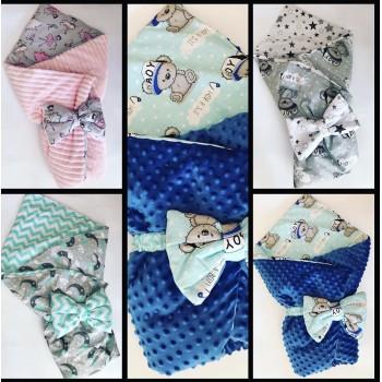 Хлопковый конверт-одеяло, бант с резинкой