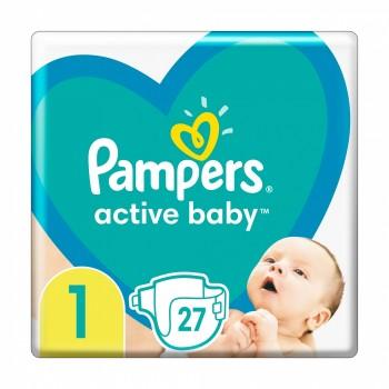 Pampers Active baby 1 (2-5  кг), 27 штук в упаковке