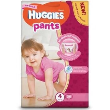 Huggies pants 4 (9-14 kg), трусики для девочки, 36 штук в упаковке.