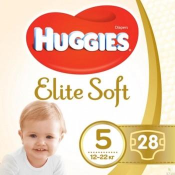Huggies Elit soft 5 (12-22 кг), 28 штук