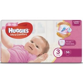 Huggies  Ultra comfort  3,  56 шт. 5-9 кг.Для девочки