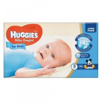Huggies  Ultra comfort  3,  56 шт. 5-9 кг. For boys