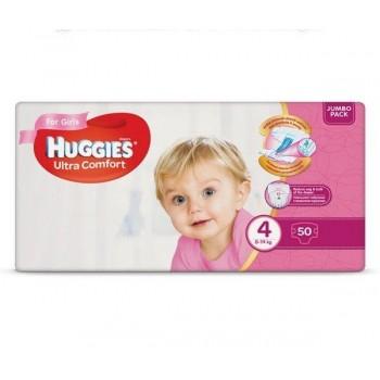 Huggies  Ultra comfort  4, 50 шт. 8-14 кг.For girls