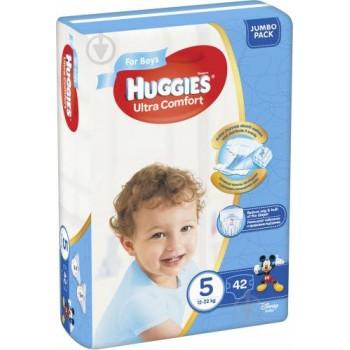 Huggies  Ultra comfort  5,  42 шт. 12-22 кг. For boys