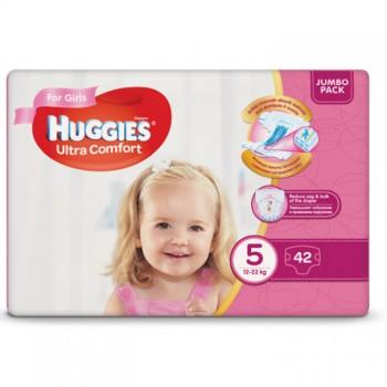 Huggies  Ultra comfort  5,  42 шт. 12-22 кг.For girls
