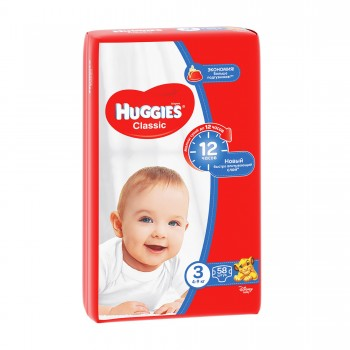 Huggies classic 3, 58 штук. От 4 до 9 кг