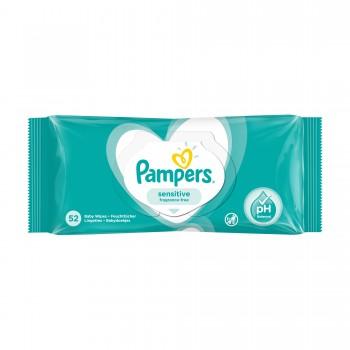 Влажные салфетки Pampers sensitive,52 штуки