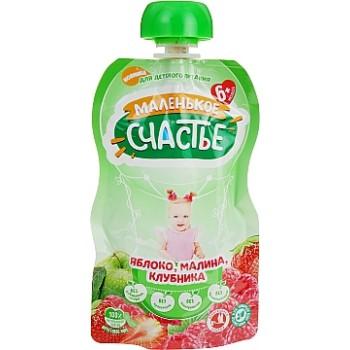 Пюре Маленькое счастье «яблоко, малина, клубника». Мягкая упаковка, 90 г. С 6 месяцев