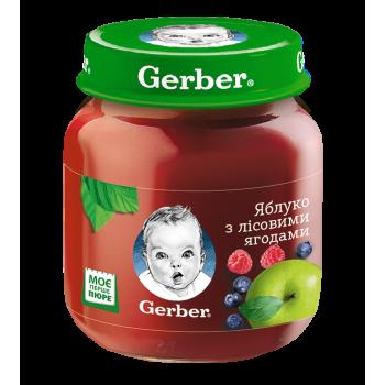 Пюре Gerber яблоко-лесные ягоды, стекло, 130 г. С 6 мес+