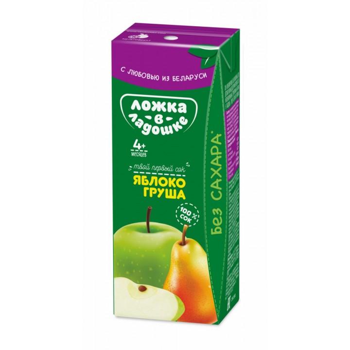 Сок Ложка в ладошке яблоко-груша, 200 мл. С 4 мес+