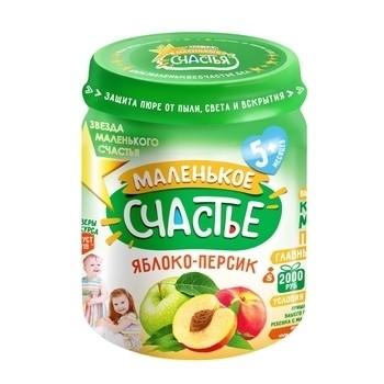Пюре Маленькое счастье «Яблоко-персик», 5 мес+, 90 г