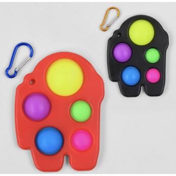 Игра антистресс С 45448 (400) Pop it (Поп ит) Simple Dimple (Симпл Димпл) 14 см, 5 пупырок, брелок, карабин, в кульке
