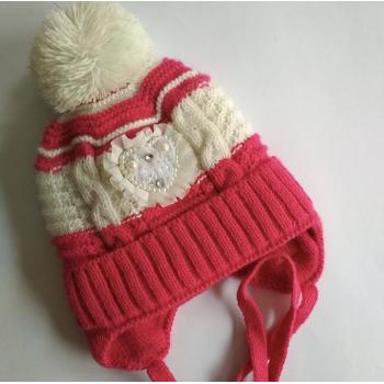 Зимняя шапка на девочку полтора- два года, на флисе