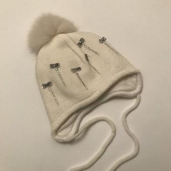 """Зимняя шапка с натуральным помпоном """"Миранда"""""""