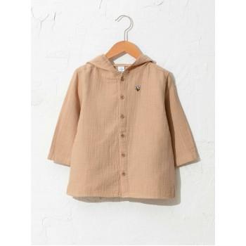 Легкая удлинённая рубашка с капюшоном, размер 98-104 см (3-4 года)